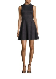 Saks Fifth Avenue RED Checked Fit & Flare Dress
