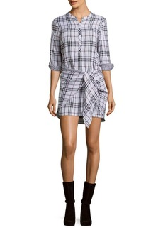 Saks Fifth Avenue RED Checked Three-Fourth Sleeve Dress