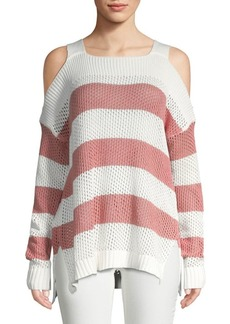 Saks Fifth Avenue Cold-Shoulder Cotton Sweater