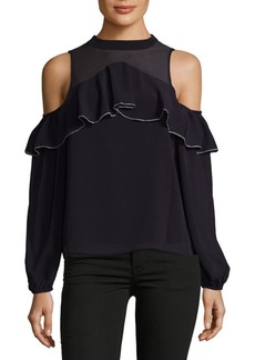 Saks Fifth Avenue Cold Shoulder Ruffle Top