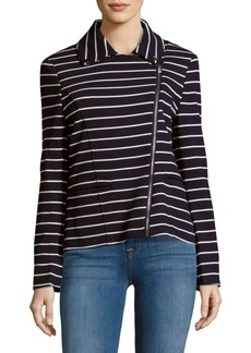 Saks Fifth Avenue RED Cotton-Blend Striped Moto Jacket