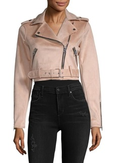 Saks Fifth Avenue Crop Belted Asymmetric Moto Jacket