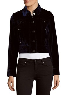Saks Fifth Avenue RED Cropped Velvet Jacket