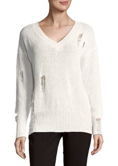 Saks Fifth Avenue RED Distressed Long-Sleeve Cotton Sweater