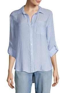 Saks Fifth Avenue RED Elisa Stripe Hi-Lo Button-Down Shirt