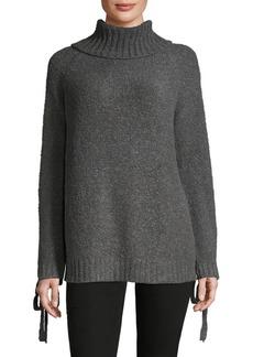 Saks Fifth Avenue RED Eyelet Turtleneck Sweater