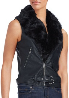 Saks Fifth Avenue RED Faux Fur Collar Vest