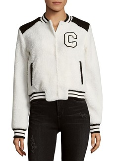 Saks Fifth Avenue RED Faux Fur Varsity Jacket