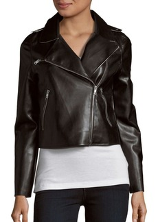 Saks Fifth Avenue RED Faux Leather Moto Jacket