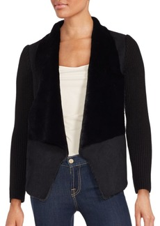 Saks Fifth Avenue RED Faux Shearling-Trimmed Open Front Jacket