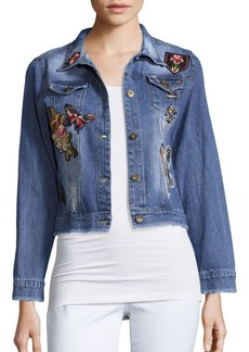 Saks Fifth Avenue RED Floral Embroidered Denim Jacket