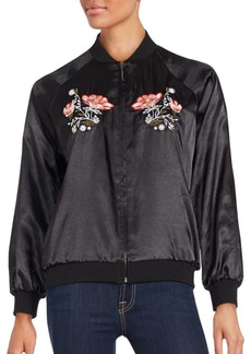 Saks Fifth Avenue RED Floral Motif Bomber Jacket