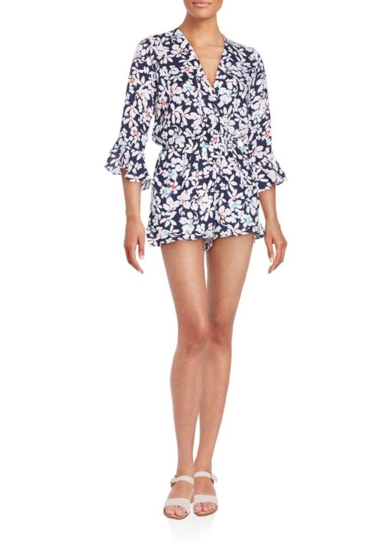 Saks Fifth Avenue RED Floral-Print Three-Quarter Sleeve Short Jumpsuit