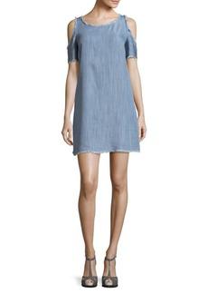 Saks Fifth Avenue RED Fringed Cold Shoulder Dress