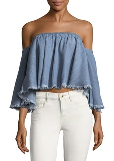 Saks Fifth Avenue RED Fringed Cotton Cropped Top