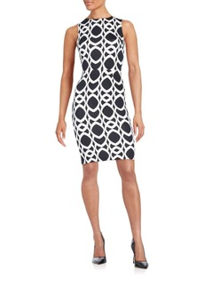 Saks Fifth Avenue RED Geometric Chain-Print Scuba Dress