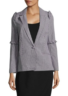 Saks Fifth Avenue RED Gingham-Check Ruffled Jacket