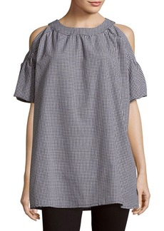 Saks Fifth Avenue RED Gingham Cotton Dress