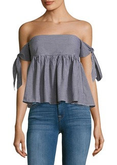 Saks Fifth Avenue RED Gingham Off-the-Shoulder Cotton Top