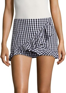 Saks Fifth Avenue RED Gingham Ruffled Skort