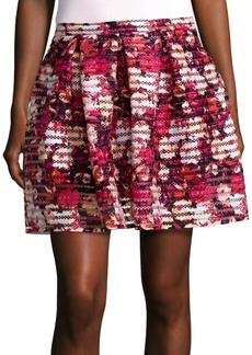 Saks Fifth Avenue RED Pleated Printed Skirt