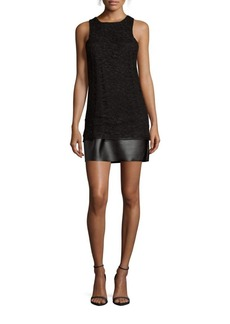 Saks Fifth Avenue RED Faux Leather-Trimmed Lace Sheath Dress