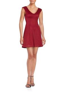 Saks Fifth Avenue RED Laser-Cut Sleeveless A-Line Dress