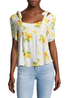 Saks Fifth Avenue RED Lemons Cold Shoulder Top