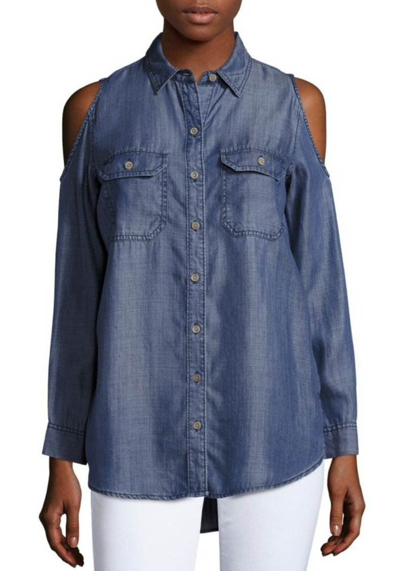 Saks Fifth Avenue RED Long Sleeve Denim Shirt