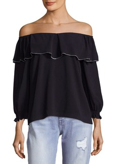 Saks Fifth Avenue RED Off Shoulder Ruffle Top