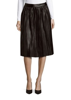 Saks Fifth Avenue RED Pleated Faux Leather Skirt