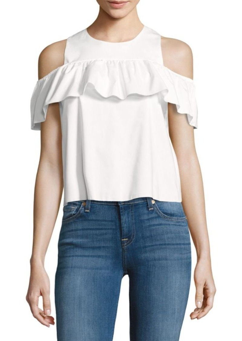 b2dce3887a5bb Saks Fifth Avenue Saks Fifth Avenue RED Ruffled Cold-Shoulder Top ...