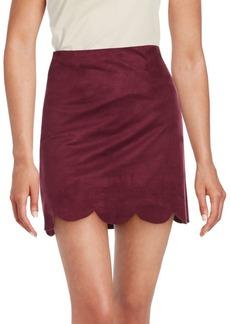 Saks Fifth Avenue RED Scalloped Hem A-Line Skirt