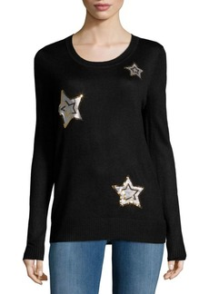 Saks Fifth Avenue RED Sequin Star Sweater