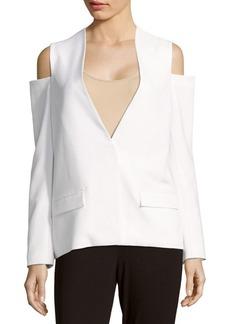 Saks Fifth Avenue RED V-Neck Cold-Shoulder Jacket