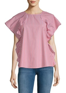 Saks Fifth Avenue Ruffle Front Poplin Cotton Top