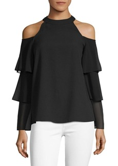 Saks Fifth Avenue Ruffle-Sleeve Cold-Shoulder Blouse