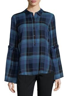 Saks Fifth Avenue Ruffle Sleeve Plaid Shirt