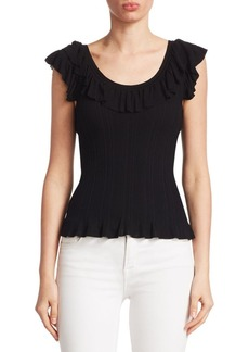 Saks Fifth Avenue COLLECTION Ruffle-Trim Ribbed Tank Top
