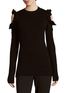 Saks Fifth Avenue Ruffled Cold Shoulder Sweater