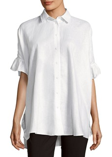 Saks Fifth Avenue Ruffled Linen Button-Down Shirt