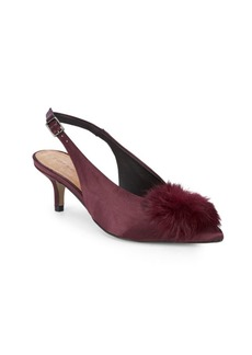 Saks Fifth Avenue Satin Slingback Faux Fur Kitten Heels