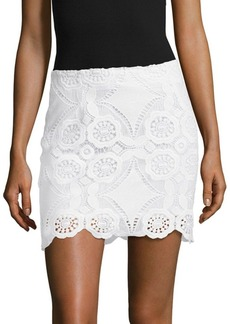 Saks Fifth Avenue RED Scalloped Lace Skirt