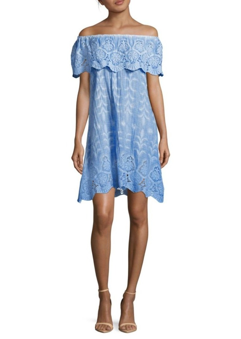 Saks Fifth Avenue BLUE Senorita Off-The-Shoulder Shift Dress
