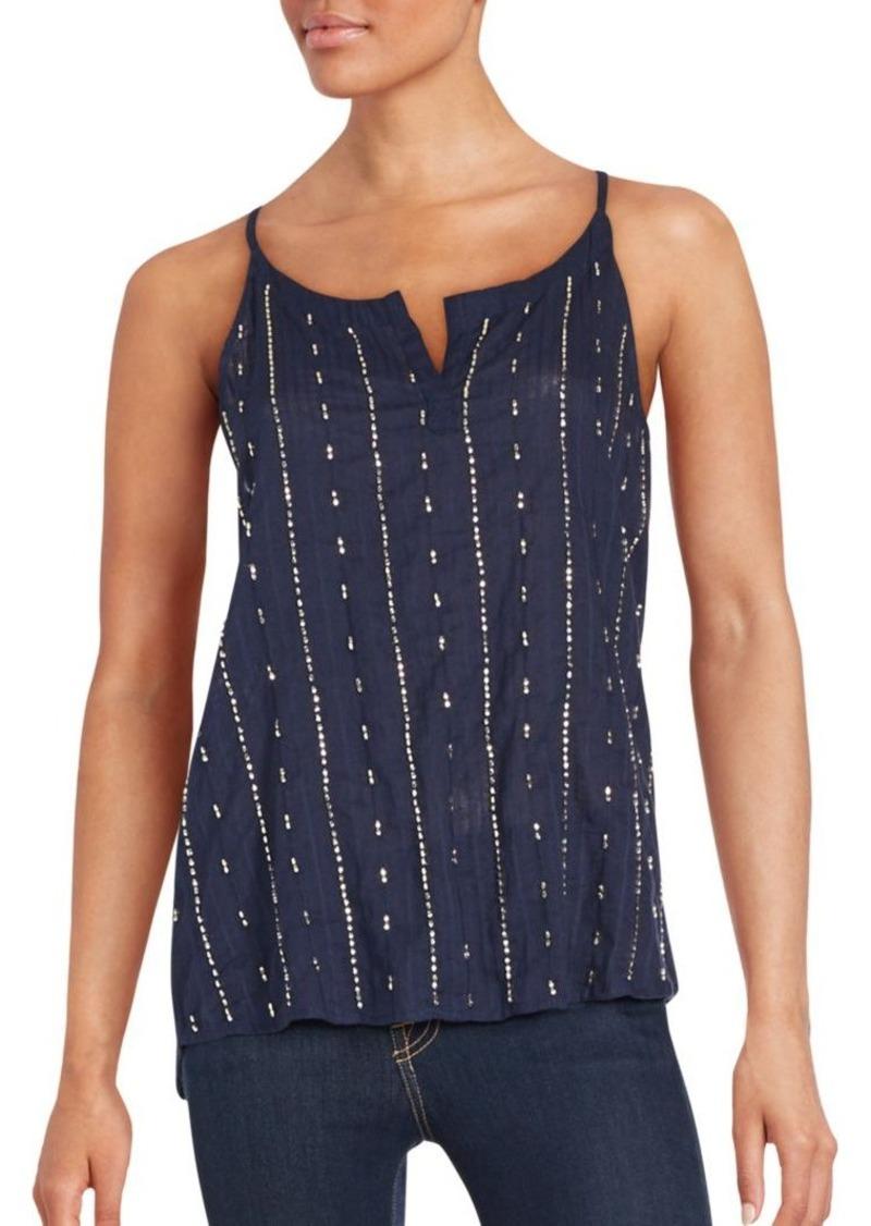 Saks Fifth Avenue Sequin Embellished Cotton Top