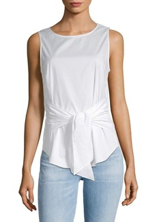 Saks Fifth Avenue Sleeveless Tie Front Cotton Top