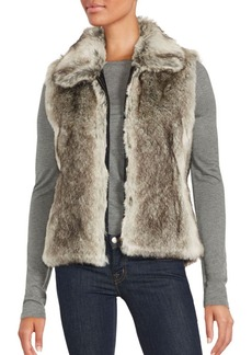 Saks Fifth Avenue Sleeveless Faux Fur Zip-Up Vest