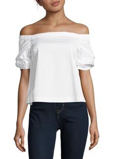 Saks Fifth Avenue Solid Cotton-Blend Off-The-Shoulder Top