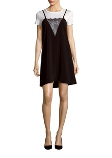 Saks Fifth Avenue Solid Lace-Trim Tunic Dress