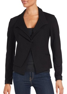 Saks Fifth Avenue BLACK Solid Long Sleeve Cropped Jacket